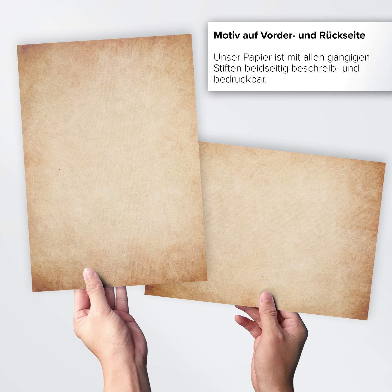 50 x Briefpapier Vintage DIN A4 beidseitig Altes Papier//Edle Briefpapiere im Vintage Look im Set//Antik Retro Look