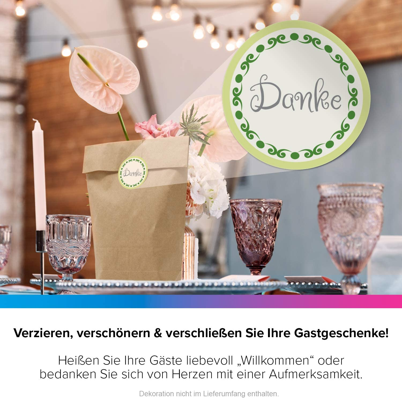 48 Aufkleber Etiketten Sticker Deko Vintage Gast-Geschenk Auspacken freuen rosa