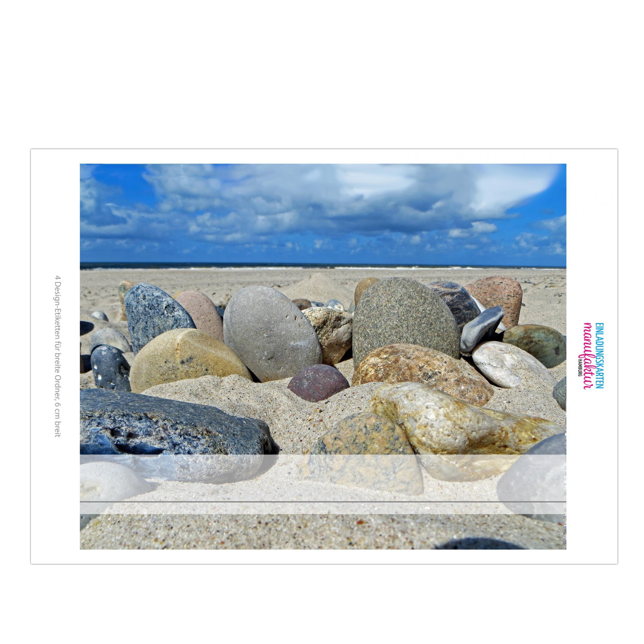 6cm breit 4 x Akten-Ordner Etiketten//Aufkleber//R/ücken Sticker//Foto Design Steine am Strand//f/ür breite Ordner//selbstklebend