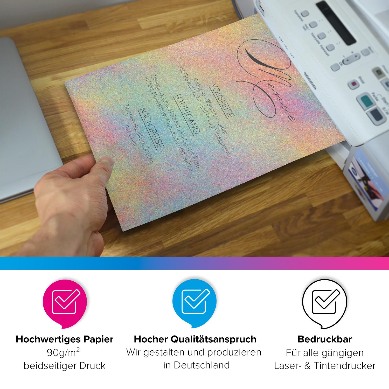 50 Blatt Briefpapier Set DIN A4 Briefbögen Motivpapier Bastelpapier Regenbogen 2