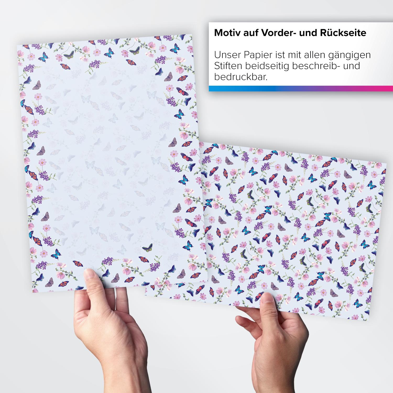 50 Blatt Briefpapier A4 Motivpapier Bastelpapier Schmetterling Blumen Sommer