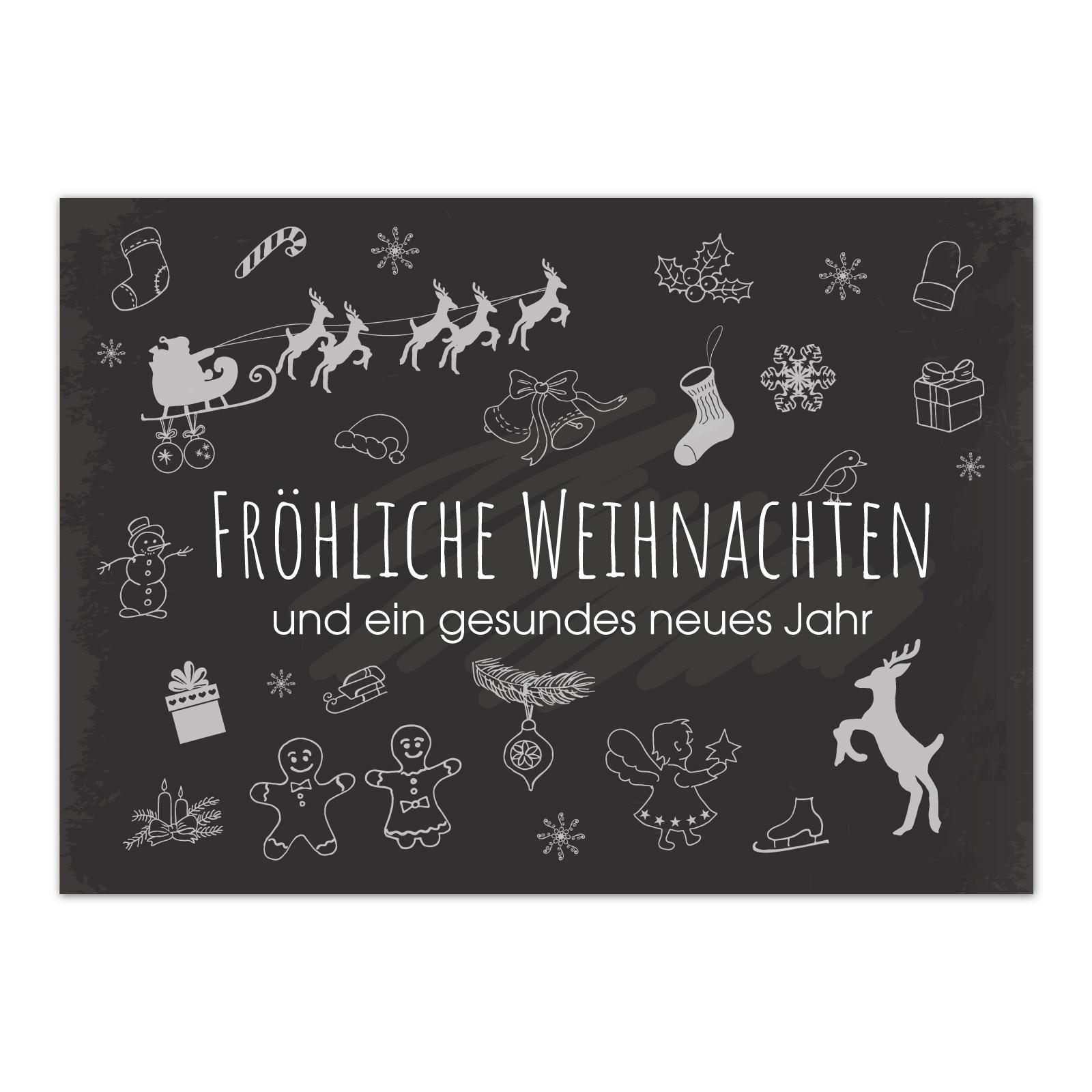 15 x weihnachtskarten tafel kreide look im postkarten. Black Bedroom Furniture Sets. Home Design Ideas