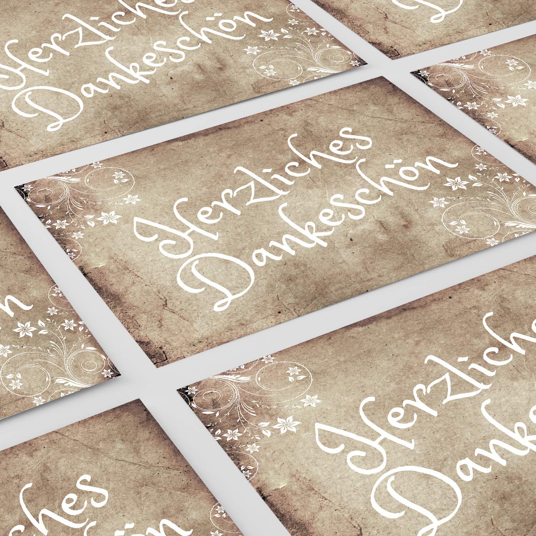 Geburtstag 15 Dankes Karten 15 Umschläge alt Hochzeit braun vintage antik