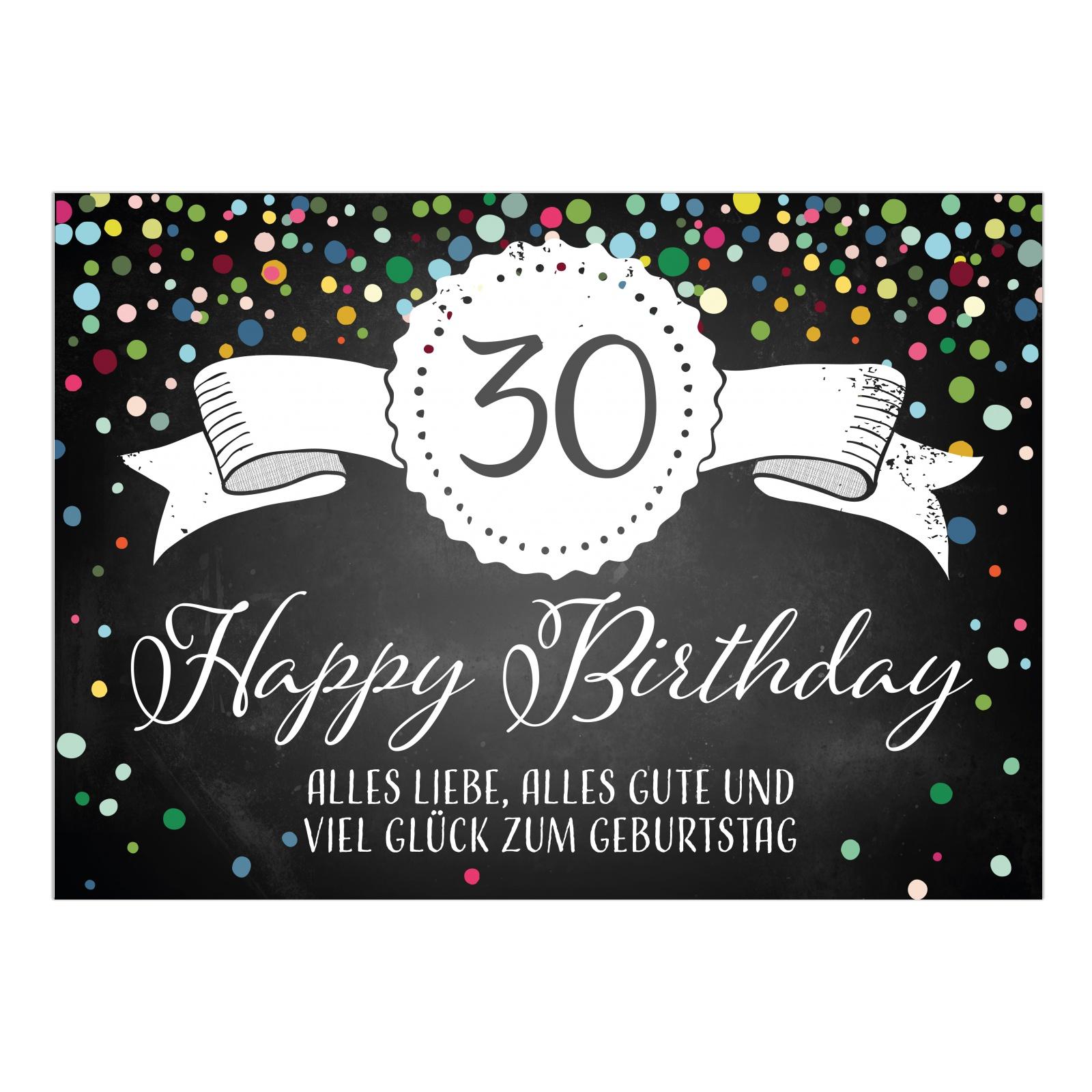 Große XXL Glückwunsch-Karte zum 30. Geburtstag mit
